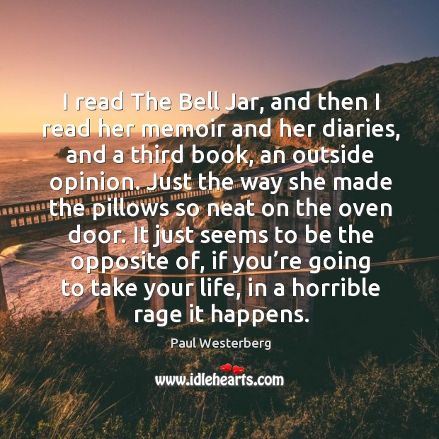 Image, I read the bell jar, and then I read her memoir and her diaries, and a third book