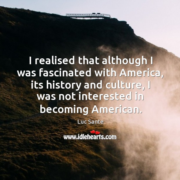 I realised that although I was fascinated with America, its history and Image