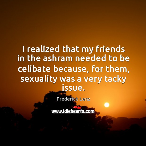 Image, I realized that my friends in the ashram needed to be celibate