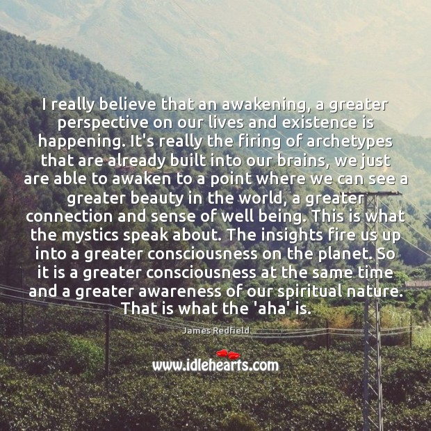 I really believe that an awakening, a greater perspective on our lives James Redfield Picture Quote