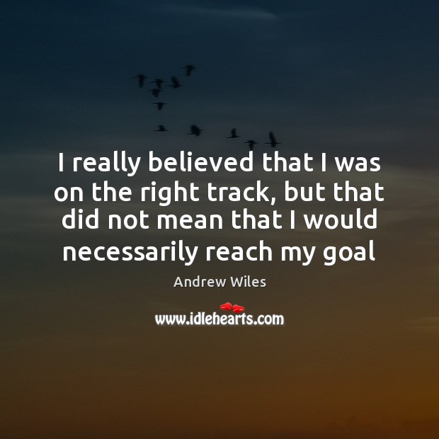 I really believed that I was on the right track, but that Andrew Wiles Picture Quote