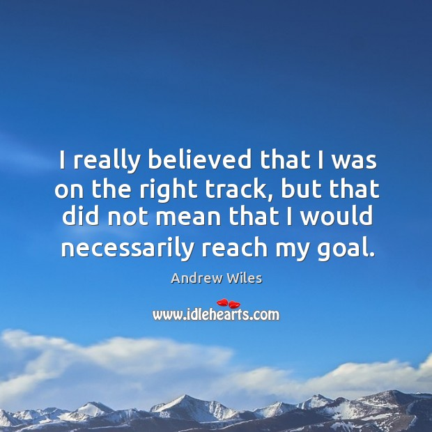 I really believed that I was on the right track, but that did not mean that I would necessarily reach my goal. Andrew Wiles Picture Quote
