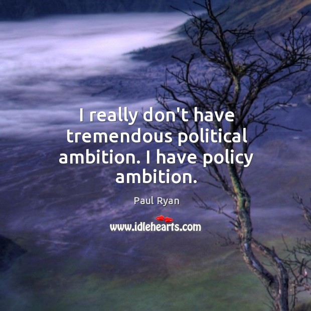 Image, I really don't have tremendous political ambition. I have policy ambition.