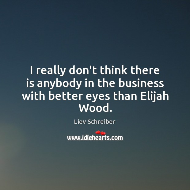 I really don't think there is anybody in the business with better eyes than Elijah Wood. Liev Schreiber Picture Quote