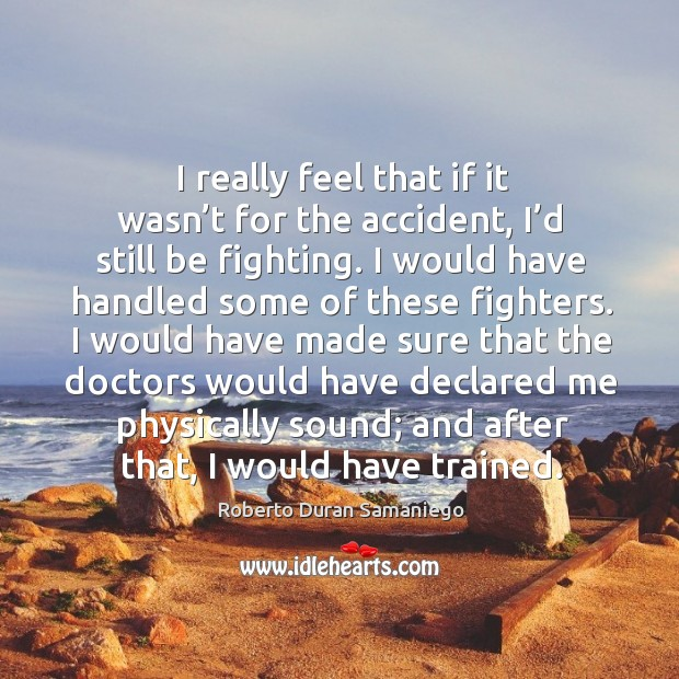I really feel that if it wasn't for the accident, I'd still be fighting. Image