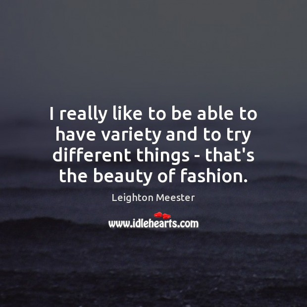 I really like to be able to have variety and to try Leighton Meester Picture Quote