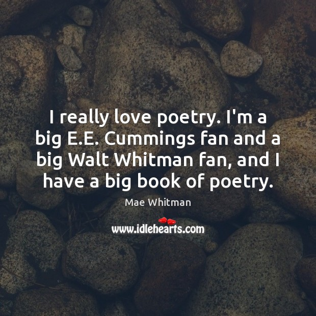 I really love poetry. I'm a big E.E. Cummings fan and Mae Whitman Picture Quote