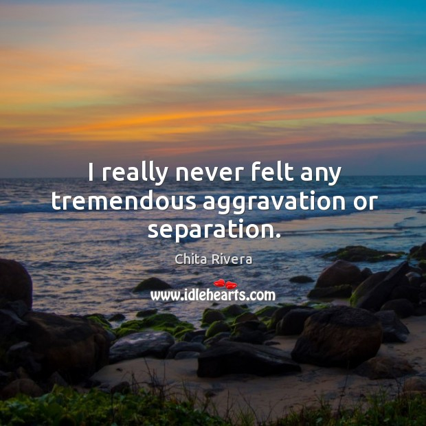 Image, I really never felt any tremendous aggravation or separation.