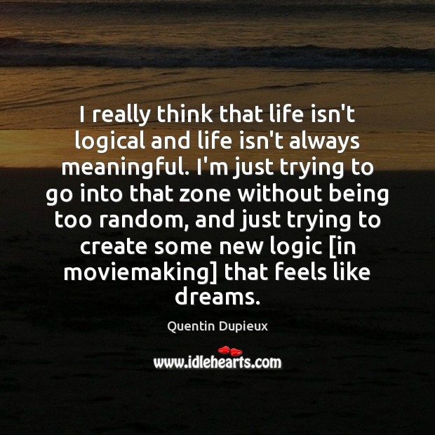 I really think that life isn't logical and life isn't always meaningful. Quentin Dupieux Picture Quote