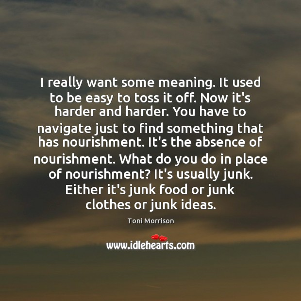 I really want some meaning. It used to be easy to toss Toni Morrison Picture Quote