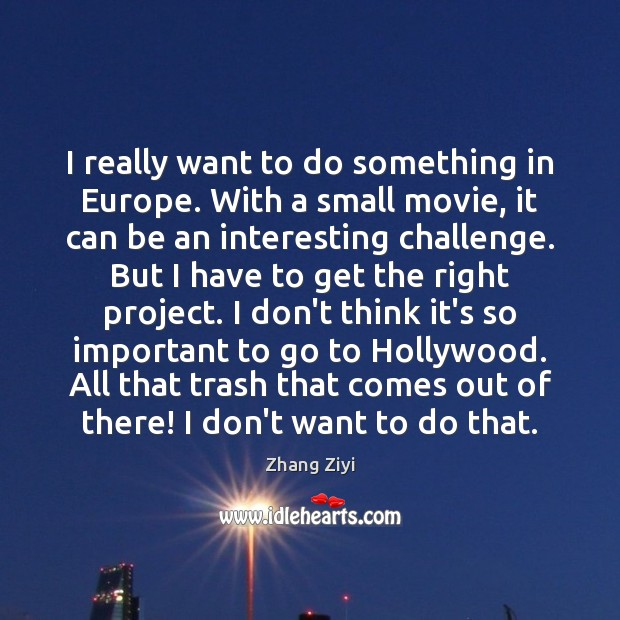 I really want to do something in Europe. With a small movie, Zhang Ziyi Picture Quote