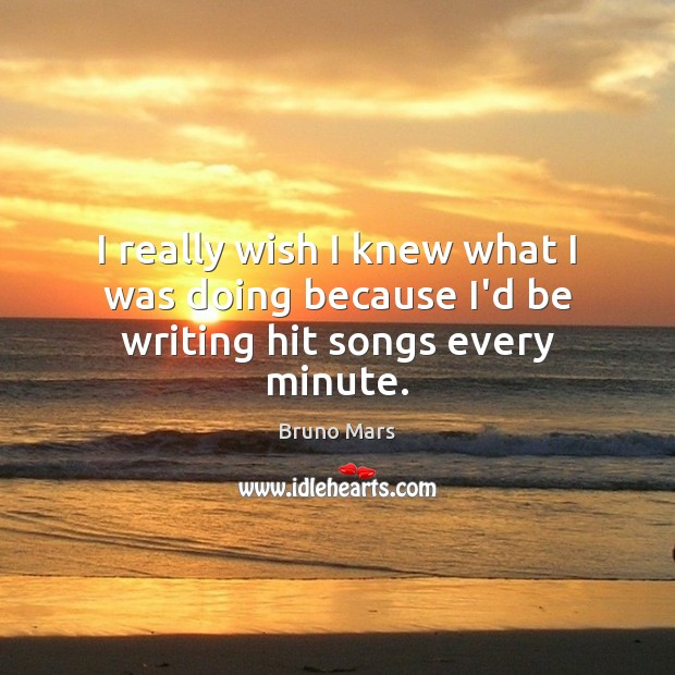 I really wish I knew what I was doing because I'd be writing hit songs every minute. Bruno Mars Picture Quote