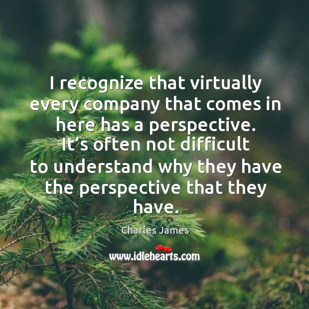 I recognize that virtually every company that comes in here has a perspective. Charles James Picture Quote