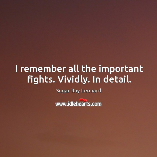I remember all the important fights. Vividly. In detail. Image