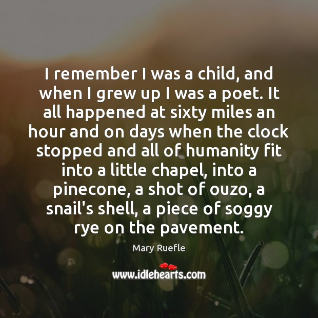 I remember I was a child, and when I grew up I Mary Ruefle Picture Quote