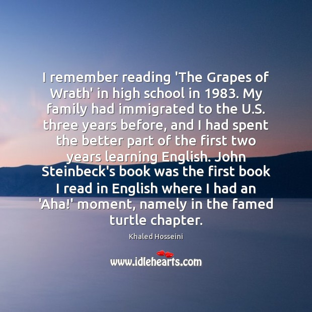 Image, I remember reading 'The Grapes of Wrath' in high school in 1983. My