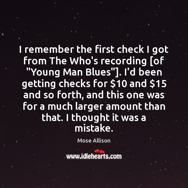 """I remember the first check I got from The Who's recording [of """" Image"""