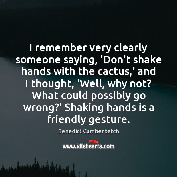 I remember very clearly someone saying, 'Don't shake hands with the cactus, Image