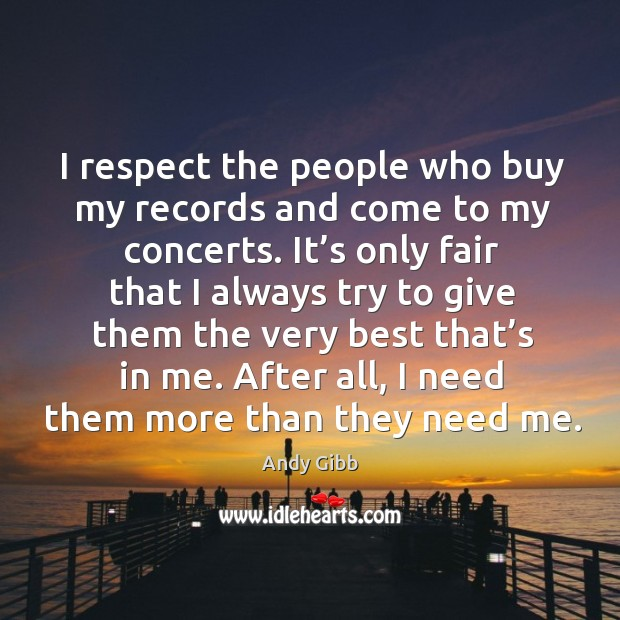 Image, I respect the people who buy my records and come to my concerts.