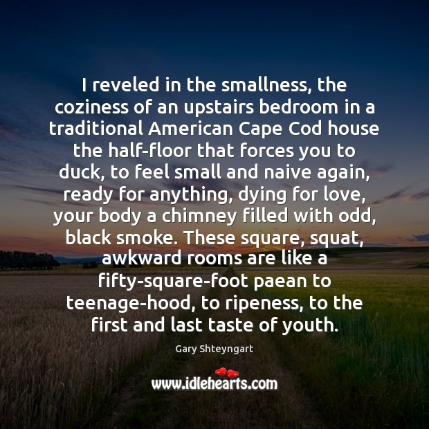 I reveled in the smallness, the coziness of an upstairs bedroom in Gary Shteyngart Picture Quote
