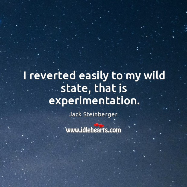 I reverted easily to my wild state, that is experimentation. Image