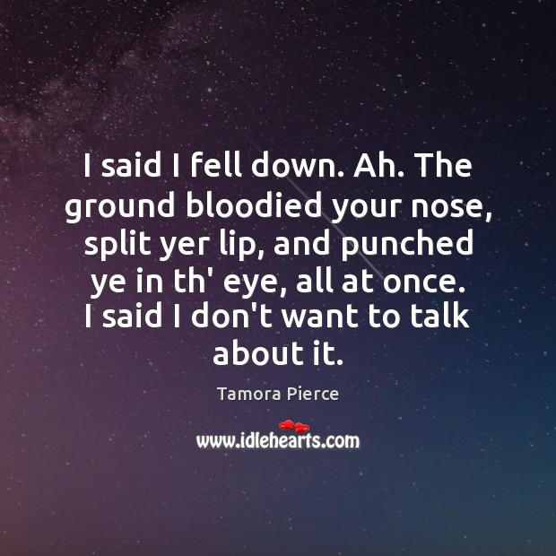 I said I fell down. Ah. The ground bloodied your nose, split Tamora Pierce Picture Quote