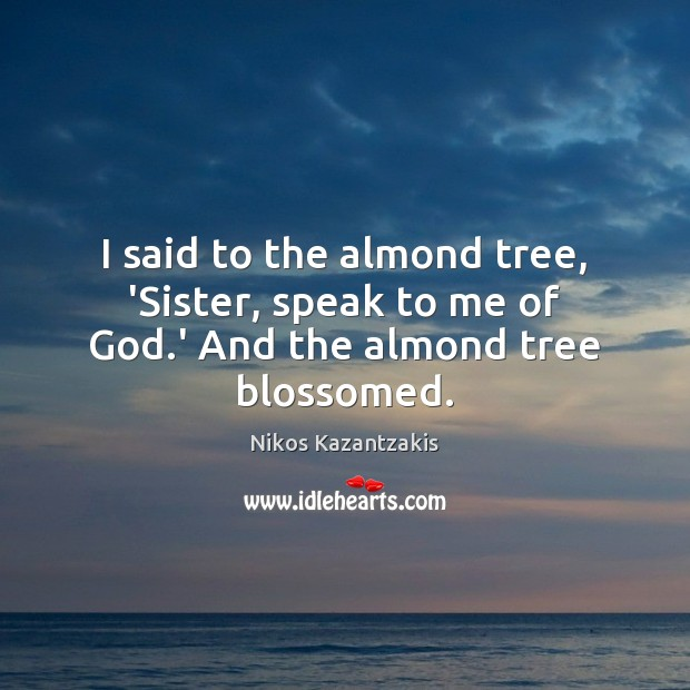 Image, I said to the almond tree, 'Sister, speak to me of God.' And the almond tree blossomed.