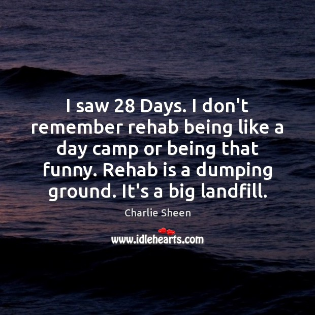 I saw 28 Days. I don't remember rehab being like a day camp Charlie Sheen Picture Quote