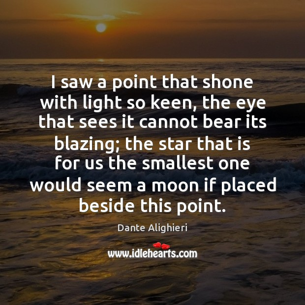 I saw a point that shone with light so keen, the eye Dante Alighieri Picture Quote