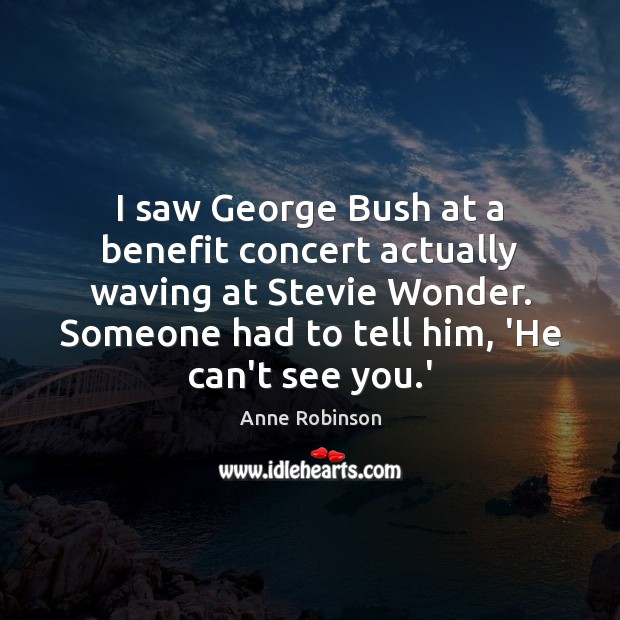 Image, I saw George Bush at a benefit concert actually waving at Stevie