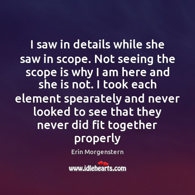 Erin Morgenstern Picture Quote image saying: I saw in details while she saw in scope. Not seeing the