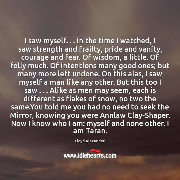 I saw myself. . . in the time I watched, I saw strength and Lloyd Alexander Picture Quote