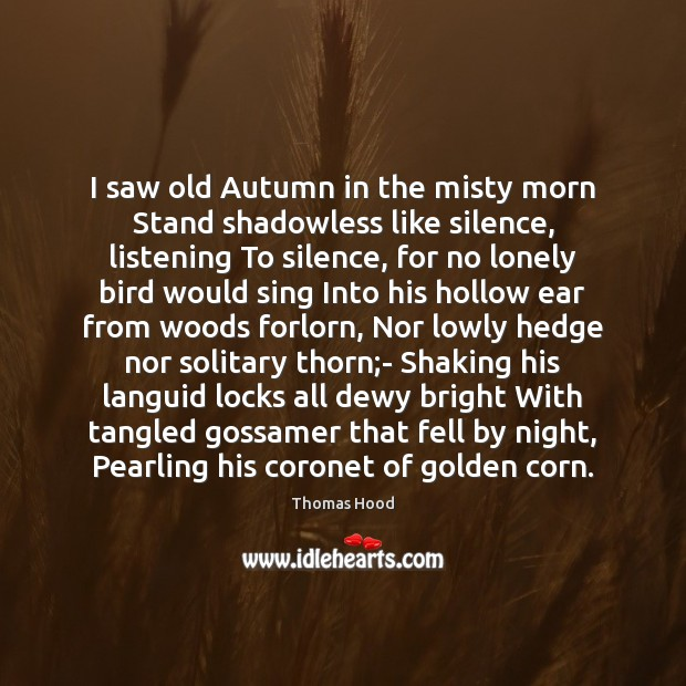 I saw old Autumn in the misty morn Stand shadowless like silence, Thomas Hood Picture Quote