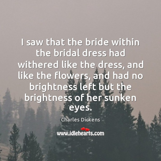 Image, I saw that the bride within the bridal dress had withered like