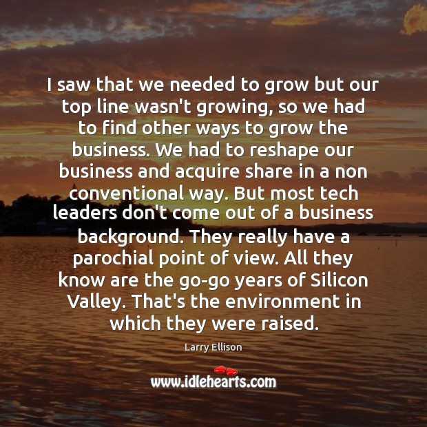 I saw that we needed to grow but our top line wasn't Larry Ellison Picture Quote