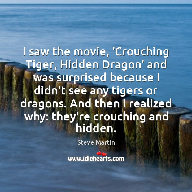 I saw the movie, 'Crouching Tiger, Hidden Dragon' and was surprised because Image