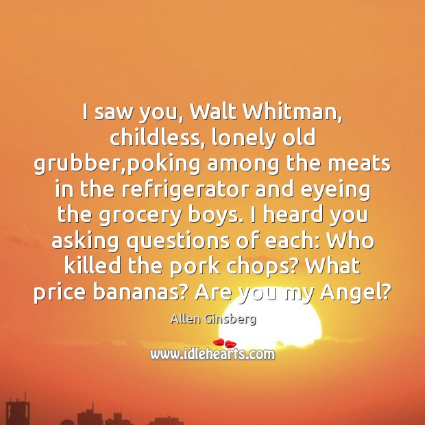 Image, I saw you, Walt Whitman, childless, lonely old grubber,poking among the