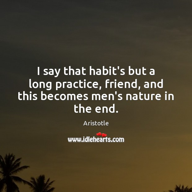 Image, I say that habit's but a long practice, friend, and this becomes men's nature in the end.