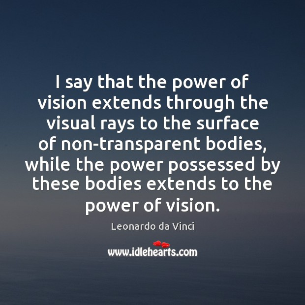 I say that the power of vision extends through the visual rays Image