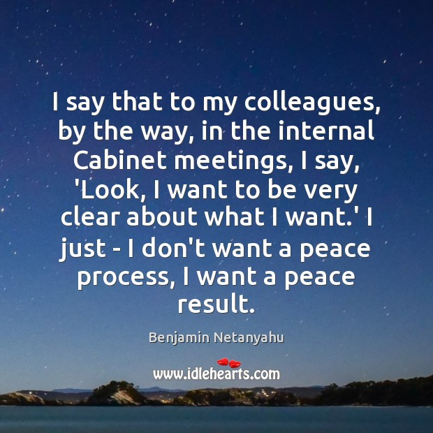 I say that to my colleagues, by the way, in the internal Benjamin Netanyahu Picture Quote