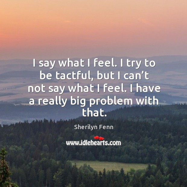 I say what I feel. I try to be tactful, but I can't not say what I feel. I have a really big problem with that. Image
