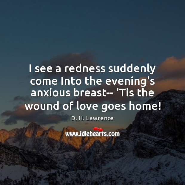 I see a redness suddenly come Into the evening's anxious breast– 'Tis D. H. Lawrence Picture Quote