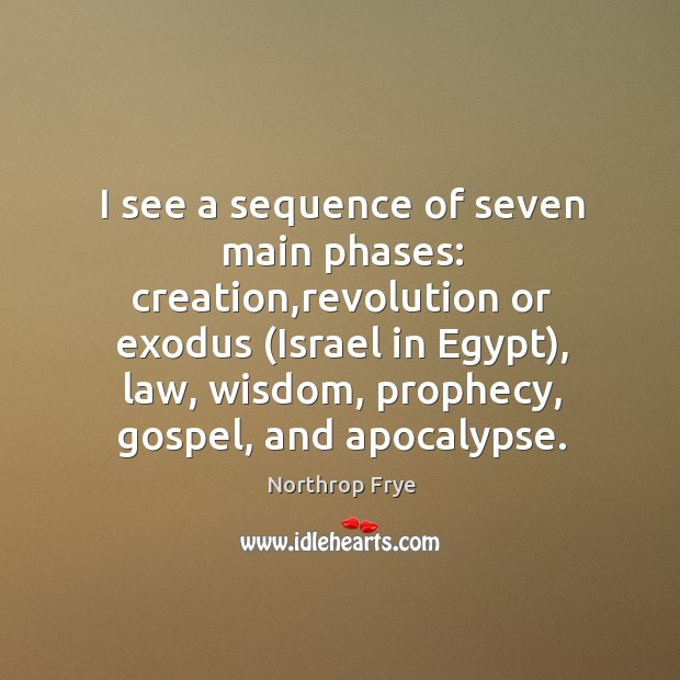 I see a sequence of seven main phases: creation,revolution or exodus ( Image