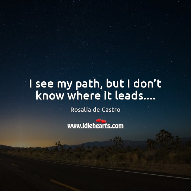 I see my path, but I don't know where it leads…. Image
