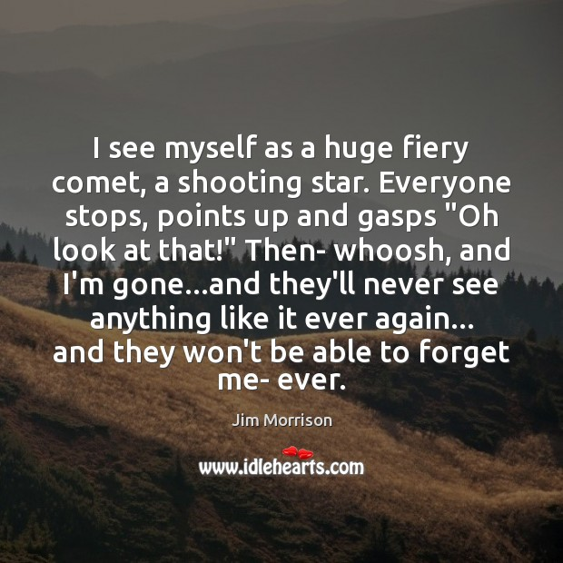 Image, I see myself as a huge fiery comet, a shooting star. Everyone