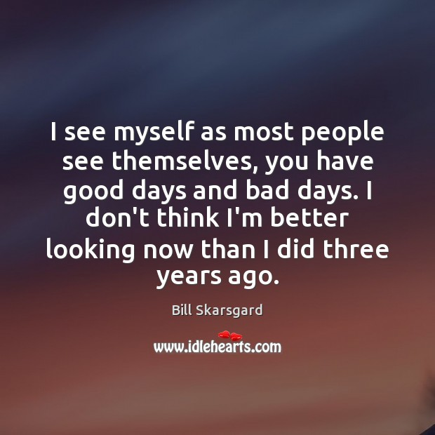 Image, I see myself as most people see themselves, you have good days