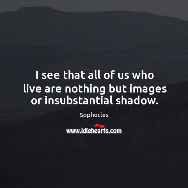 I see that all of us who live are nothing but images or insubstantial shadow. Image