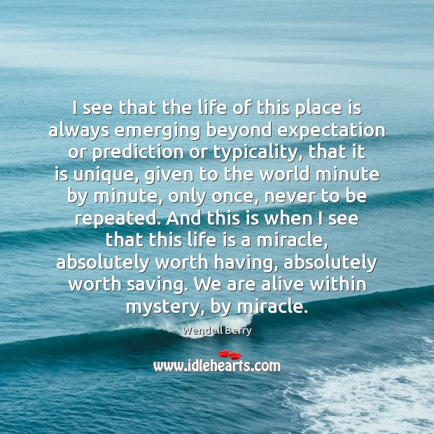 I see that the life of this place is always emerging beyond Wendell Berry Picture Quote