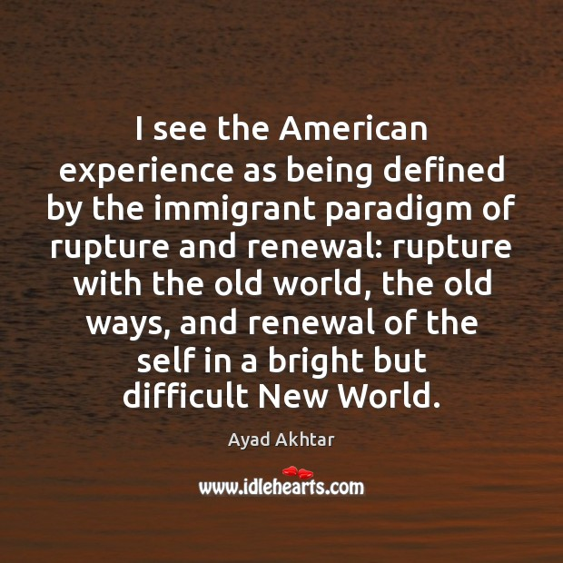 Image, I see the American experience as being defined by the immigrant paradigm