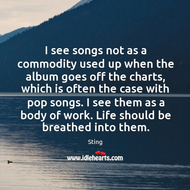 Image, I see them as a body of work. Life should be breathed into them.